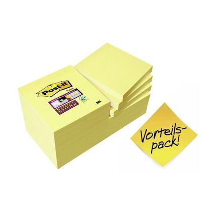Post-it Haftnotizen Super Sticky Notes, 76 x 76 mm, gelb