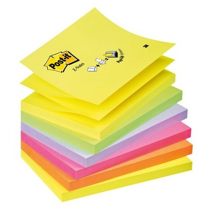 Post-it Haftnotizen Z-Notes, 127 x 76 mm, 6-farbig