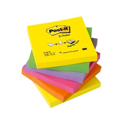 Post-it Haftnotizen Z-Notes, 76 x 76 mm, 6-farbig