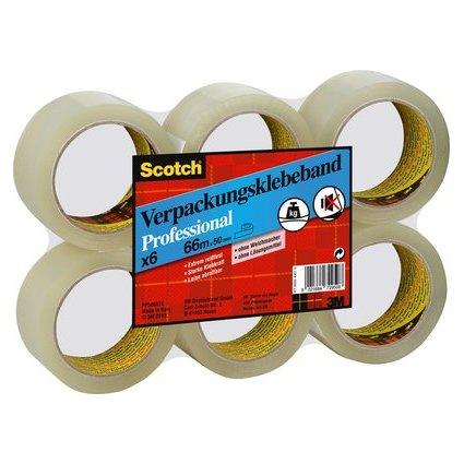 3M Scotch Verpackungsklebeband PP, 50 mm x 66 m, transparent