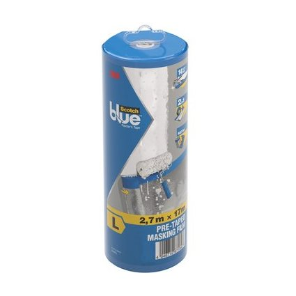 3M ScotchBlue Abdeckfolie mit Malerband im Abroller, Größe L