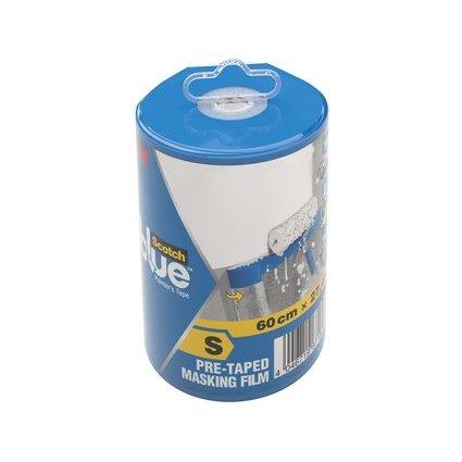3M ScotchBlue Abdeckfolie mit Malerband im Abroller, Größe S