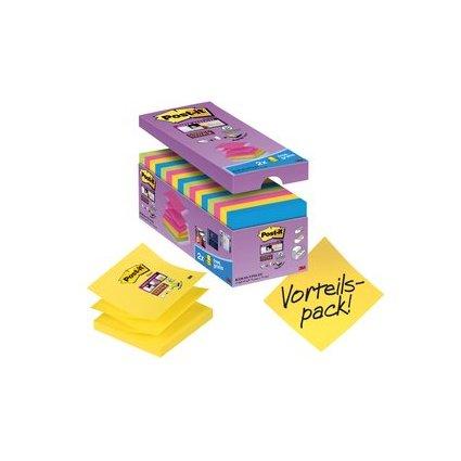 Post-it Haftnotizen Super Sticky Z-Notes, 76 x 76 mm, farbig