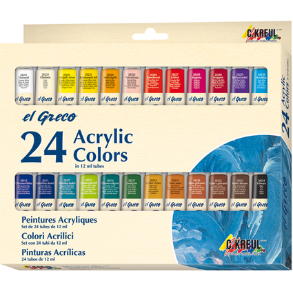 KREUL Acrylfarbe el Greco, 12 ml, 24er-Set