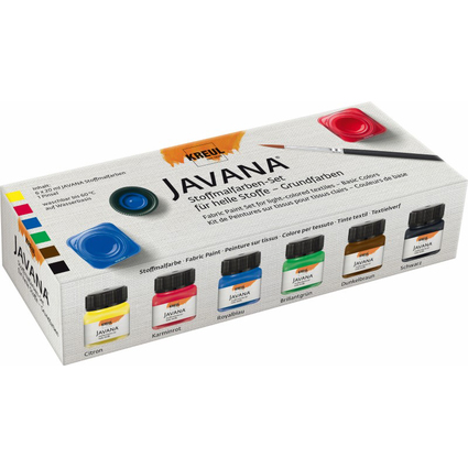 KREUL Textilfarbe JAVANA, Grundfarben-Set, 6 x 20 ml