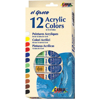 KREUL Acrylfarbe el Greco, 12 ml, 12er-Set